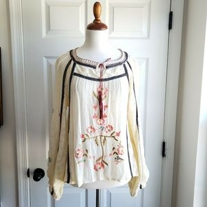 Free People XS Embroidery Ivory Floral Peasant Top